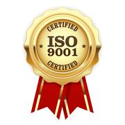 ISO 9001 certified - quality standard golden seal - stock illustration