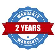 Two years warranty seal - round stamp - stock illustration
