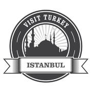 Istanbul stamp with silhouette of mosque - visit Turkey Stock Illustration