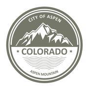 Snowbound Rocky Mountains - Colorado, Aspen label Stock Illustration
