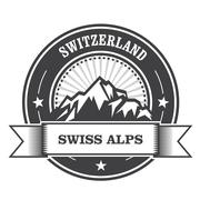 Alps Mountains stamp - Switzerland label with ribbon Stock Illustration