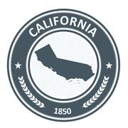 California state silhouette - stamp with contour of map Piirros