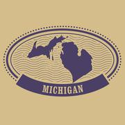 Michigan map silhouette - oval stamp Stock Illustration