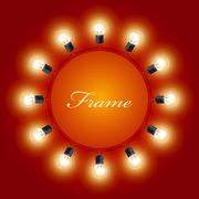 Round frame of light bulbs - theatre poster Stock Illustration