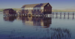 Aerial over boathouse & wharf in point reyes, marin, San Francisco Stock Footage