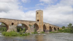 Time-lapse video of Medieval stone bridge in Frias, Spain Stock Footage