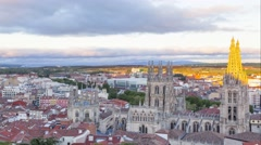 View on Burgos Cathedral from the hill Stock Footage