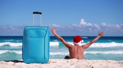 Tropical Vacation on beach  Christmas and New Year celebration Stock Footage