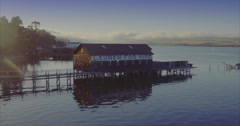 Aerial over boathouse & wharf in point reyes, marin, San Francisco - stock footage