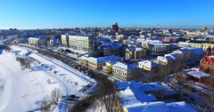 Aerial view of the historical part of Yaroslavl city. Stock Footage
