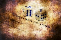 Employment contract and dice on grunge concept - stock illustration