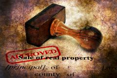 Stamp approved on sale of real property form Stock Illustration