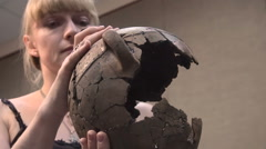 Blonde Woman Scientist - Archaeologist Studying Ancient Pottery in the Museum, Stock Footage