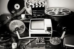 Movie editing vintage desktop Stock Photos