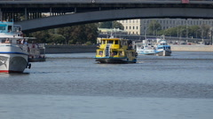 Motorships on a Moscow river Stock Footage