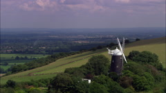 Jack And Jill Windmills On South Downs Stock Footage