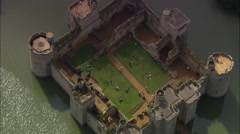 Bodiam Castle Reveal From Behind Trees Stock Footage