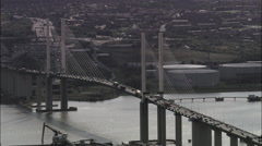 Queen Elizabeth Bridge Sweeping Shot Stock Footage