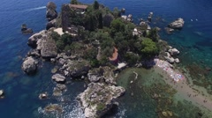 Aerial View of island Isola Bella at Taormina, Sicily Stock Footage
