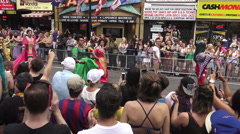 Asian Participants Wearing Gowns at Toronto's 36th Annual Pride Parade 2016 Stock Footage