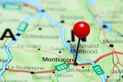 Montlucon pinned on a map of France Stock Photos