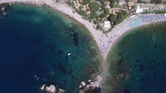 Aerial View of beach and island Isola Bella at Taormina, Sicily Stock Footage