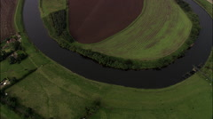River Trent Directly Down Then Pull Out To Long Shot Helicopter Leg In Shot Stock Footage