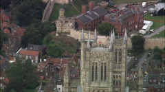 Lincoln Cathedral With Lincoln Castle In Background Stock Footage