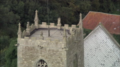 St Mary's Church Norman In Stow - C/U Of Roof Then Zoom Out Stock Footage