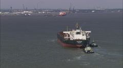 Tanker On Way To Immingham On Humber Estuary - Sweeping Shot Around Back And Stock Footage