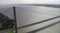 High Shot Of Humber Suspension Bridge Directly Down Stock Footage