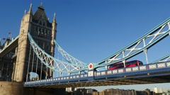 red bus on London Tower Bridge - stock footage