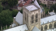 York Minster C/U Roof And Zoom Out Stock Footage