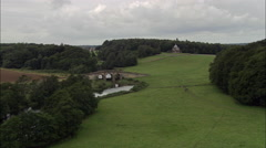 Old Bridge Near Castle Howard And Temple Of The Four Winds Stock Footage