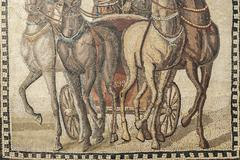 Roman chariot mosaic - stock photo