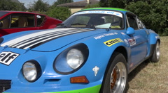 Vintage franch car - Blue Renault Alpine - Close up, zoom out Stock Footage