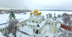 Aerial view of the Ipatievsky Monastery. Kostroma. Winter. Russia Stock Footage