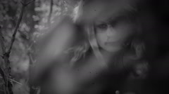 Horror girl with dead face / Undead / Black and white, 8mm Stock Footage