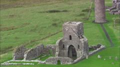 Devonish Island Monastery And Tall Tower Stock Footage