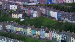 Cobh Trerrace Housing And Harbour Stock Footage
