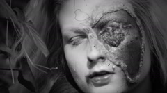 Horror girl with injured face/ Black and white / 8mm Stock Footage