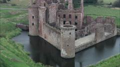 Caerlaverock Castle Rare Triangular Castle Stock Footage