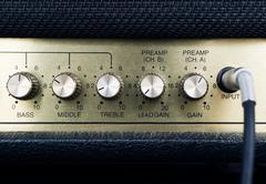 Detail of guitar amplifier Stock Photos
