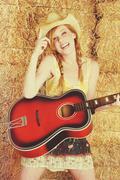 Country Guitar Girl Kuvituskuvat