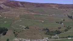 Field Patterns Of Stone Wall On North Side Of Swaledale Stock Footage