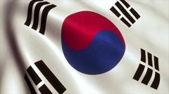 South Korea flag loop video animation 4K Stock Footage