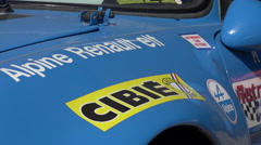 Vintage french car - Blue Renault Alpine - Zoom in, close up Stock Footage
