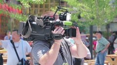 Camera Operator at Political Rally Stock Footage