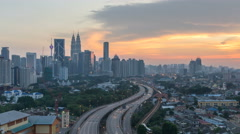 Aerial view. Time lapse. Sunset scene at Kuala Lumpur Stock Footage