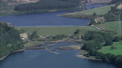 Longdendale Reservoirs Revealed From Behind Hill Stock Footage